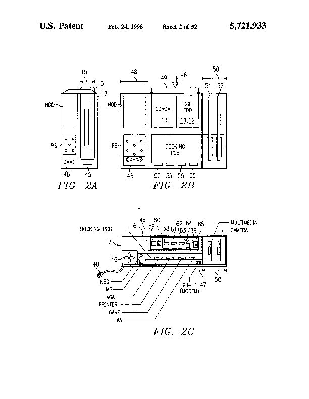 Patent US 5,721,933 A on